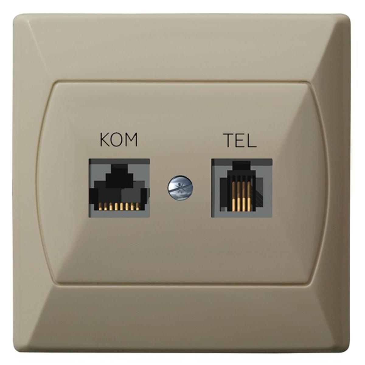 Akcent Gniazdo Komputerowo Telefoniczne Rj 45 Beżowy Sklep Elektryczny El12