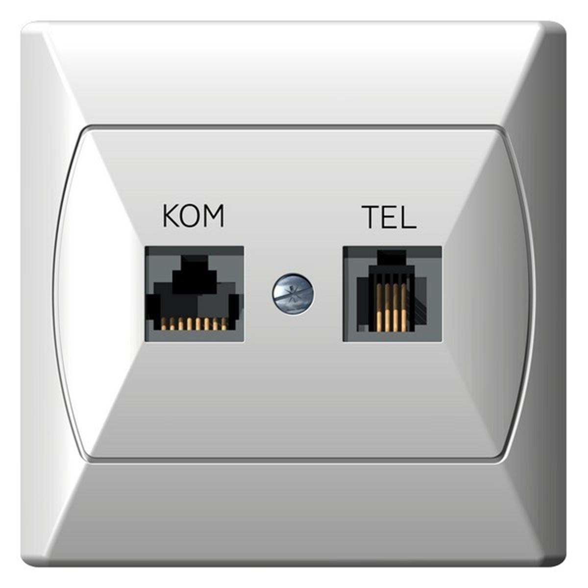 Akcent Gniazdo Komputerowo Telefoniczne Rj 45 Biały Sklep Elektryczny El12