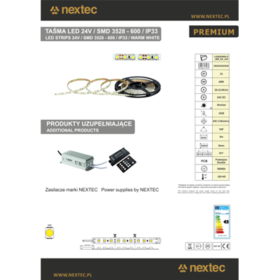NEXTEC Taśma LED PREMIUM 24V 600 SMD 3528 5m 8mm IP33 WW